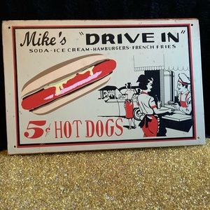 Vintage Reproduction Metal Drive In Sign